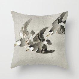 Starlings flying in the rain - Vintage Japanese Woodblock Print Art Throw Pillow