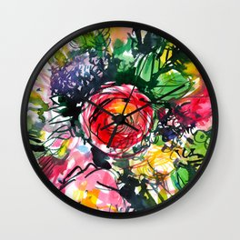 watercolor colorful bouquet with red rose Wall Clock