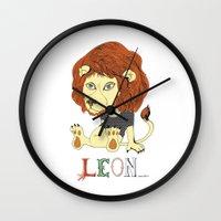 leon Wall Clocks featuring Leon by eva vasari