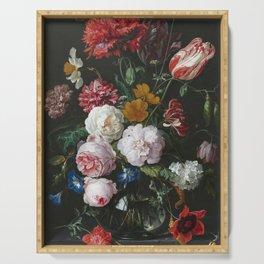 Jan Davidsz De Heem - Still Life With Flowers In A Glass Vase Serving Tray