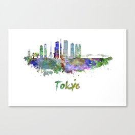 Tokyo V3 skyline in watercolor Canvas Print