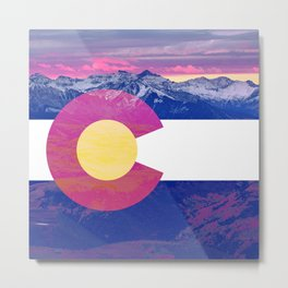 Colorado flag and mountains Metal Print