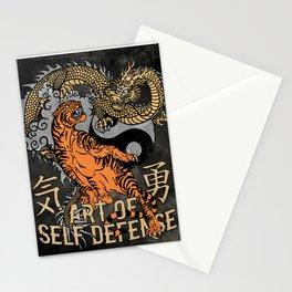 Tiger and Dragon Self Defense Art, Martial Arts,Yin Yang Stationery Cards