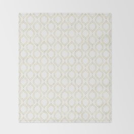 White And Gold Moroccan Chic Pattern Throw Blanket