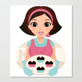 Cooking Mother holding cookies Vector cartoon Illustration Canvas Print