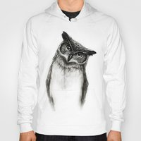 dude Hoodies featuring Owl Sketch by Isaiah K. Stephens