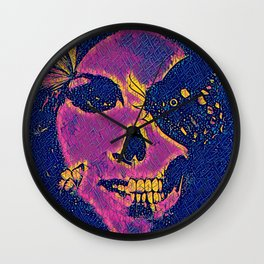 Skull and Butterflies Pink Wall Clock
