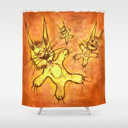 Record Cover for some Jazzed Rabbits, Orangish. Shower Curtain