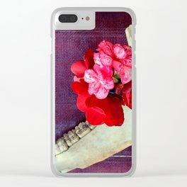 Bones n Begonias n Beautiful Burlap n... Clear iPhone Case