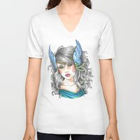goddess V-neck T-shirts featuring Goddess by Little Lost Forest
