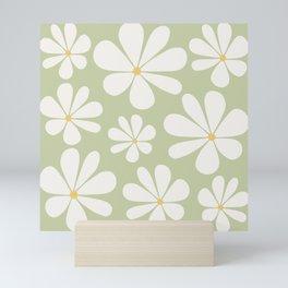 Floral Daisy Pattern - Green Mini Art Print