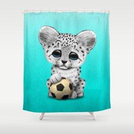 Snow leopard Cub With Football Soccer Ball Shower Curtain