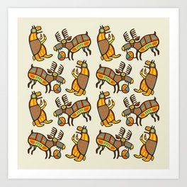Moose & Bear Art Print