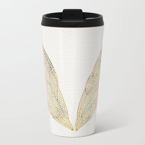 Cicada Wings in Gold Metal Travel Mug