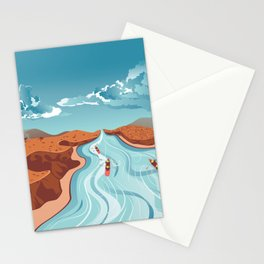 Blue river flowing through the high mountain and rafting people landscape Stationery Cards