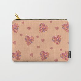 Hearts bloomimg on Peach Carry-All Pouch
