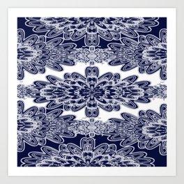 Blue Floral Damask Art Print