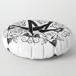 Black Pentagram with Roses Floor Pillow