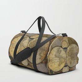 """""""Vintage paper & Maps (burlap texture)"""" Duffle Bag"""