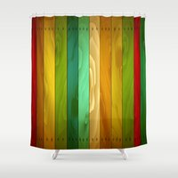 wooden Shower Curtains featuring Wooden  by Tami Cudahy