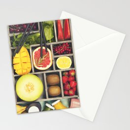 Fresh juices or smoothies with fruits and vegetables Stationery Cards