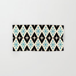 Mid Century Modern Atomic Triangle Pattern 922 Black and Blue Hand & Bath Towel