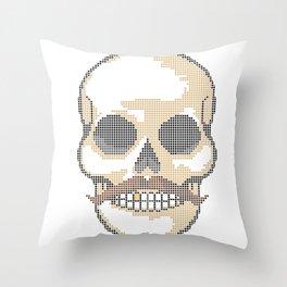 Handlebar Mustache Biker Skull - Cross Stitch Color Coded Chart Throw Pillow