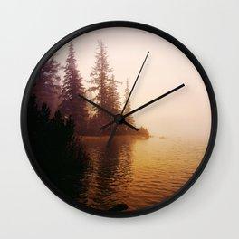 Sunset at Lake Wall Clock