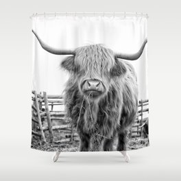 Highland Cow in a Fence Black and White Shower Curtain