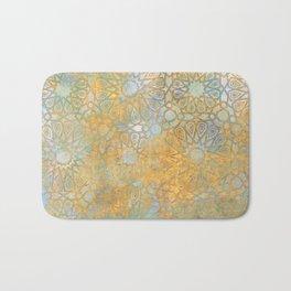 gold arabesque vintage geometric pattern Bath Mat