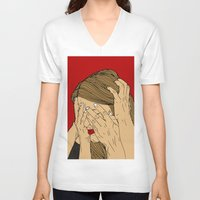 introvert V-neck T-shirts featuring Introvert 5 by Heidi Banford