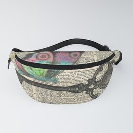 Butterfly with Key on Dictionary Page Fanny Pack