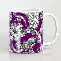 burgundy Mugs featuring Burgundy by Marcela Caraballo