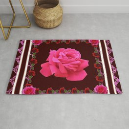 FUCHSIA PINK ROSE & BURGUNDY FLORAL PATTERNED ART Rug