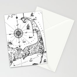 Vintage Map of Cape Cod BW Stationery Cards