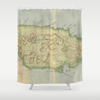 jamaica Shower Curtains featuring Vintage Map of Jamaica (1780) by BravuraMedia