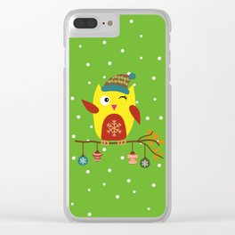 Cute Owl sitting on a branch with christmas baubles, Winter, X-mas Design Clear iPhone Case