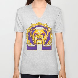 Men's Omega Que Dawg  Psi Phi Purple Gold Fraternity Unisex V-Neck