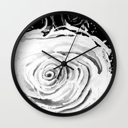 Roses For A Romantic Heart, Black and White Wall Clock