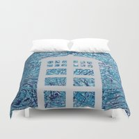 tardis Duvet Covers featuring Tardis by Sahara Novotny