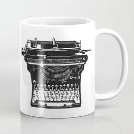 Vintage Underwood Typewriter linocut Coffee Mug