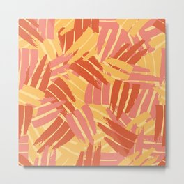 Yellow and Orange Abstract - Southwest Floral Sunrise Metal Print