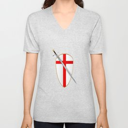 Crusaders Shield and Sword Unisex V-Neck