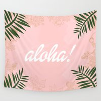 aloha Wall Tapestries featuring ALOHA by Gallerine