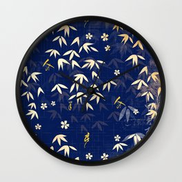 Vintage Japanese Paper: Fluttering Leaves on Midnight Blue Wall Clock