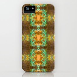 Bohemian mint and brown pattern iPhone Case