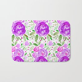 Watercolor roses bouquet - ultra violet and green Bath Mat