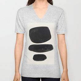Mid Century Modern Minimalist Abstract Art Brush Strokes Black & White Ink Art Tribal Pebbles Unisex V-Neck