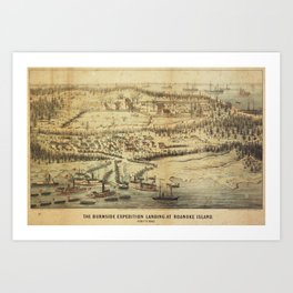 Old Roanoke Island Burnside Expedition Map (1862) Art Print