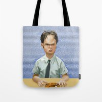 dwight schrute Tote Bags featuring Dwight by Richtoon